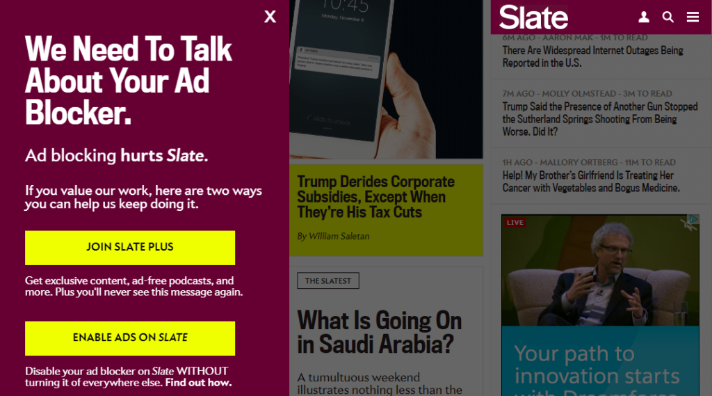 Slate ad blocker BS